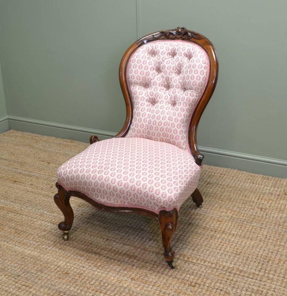 victorian walnut antique side chair nursing chair - Victorian Walnut Antique Side Chair / Nursing Chair 260044