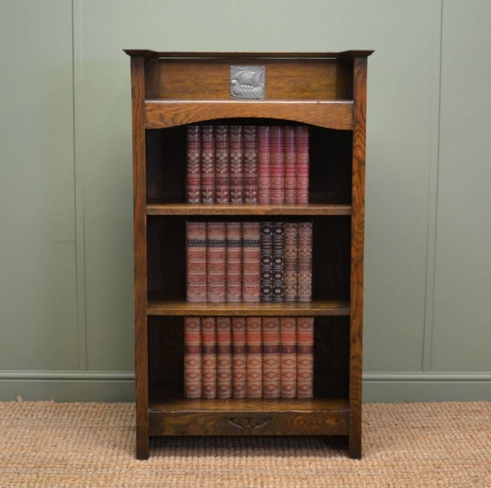 Small arts crafts antique oak open bookcase 263761 for Arts and crafts bookshelf