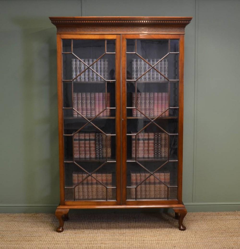 Old Bookcase Uk : Tall victorian walnut antique glazed bookcase