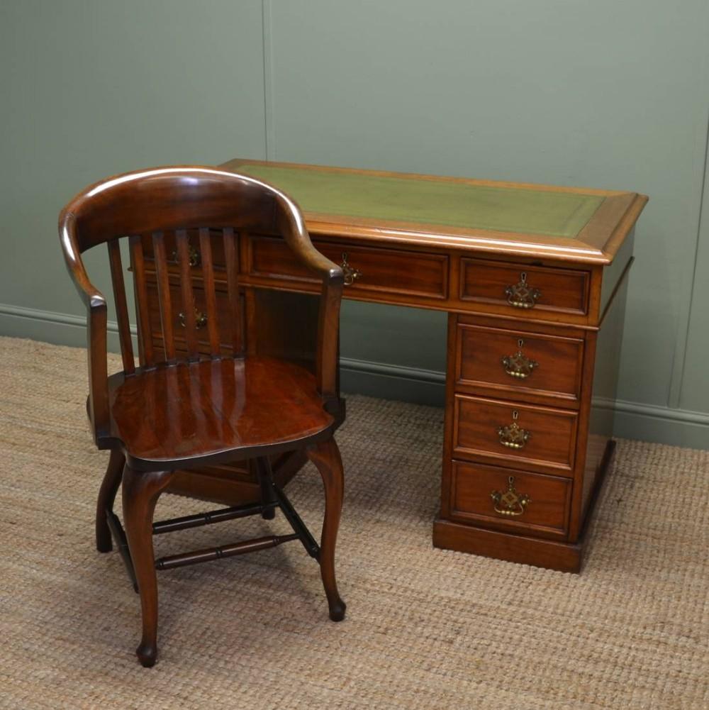 Superb Antique Edwardian Solid Walnut Office Chair Desk