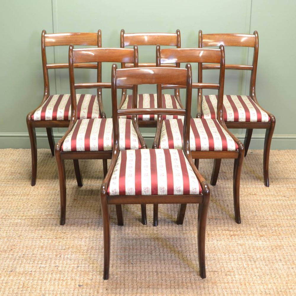 Set Of Six Antique Regency Mahogany Dining Chairs Superb Quality