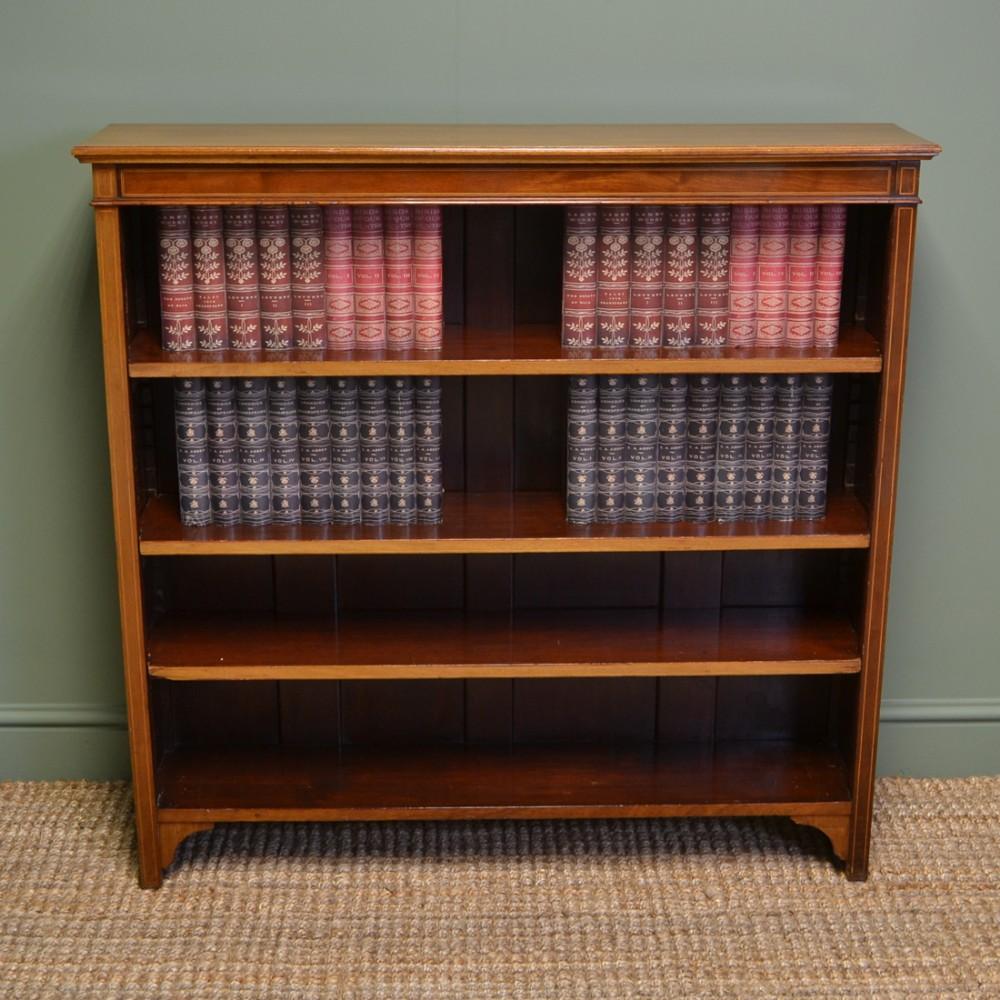 fine edwardian mellow walnut antique open bookcase