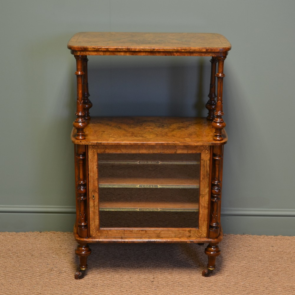 magnificent quality figured walnut victorian inlaid antique music side cabinet