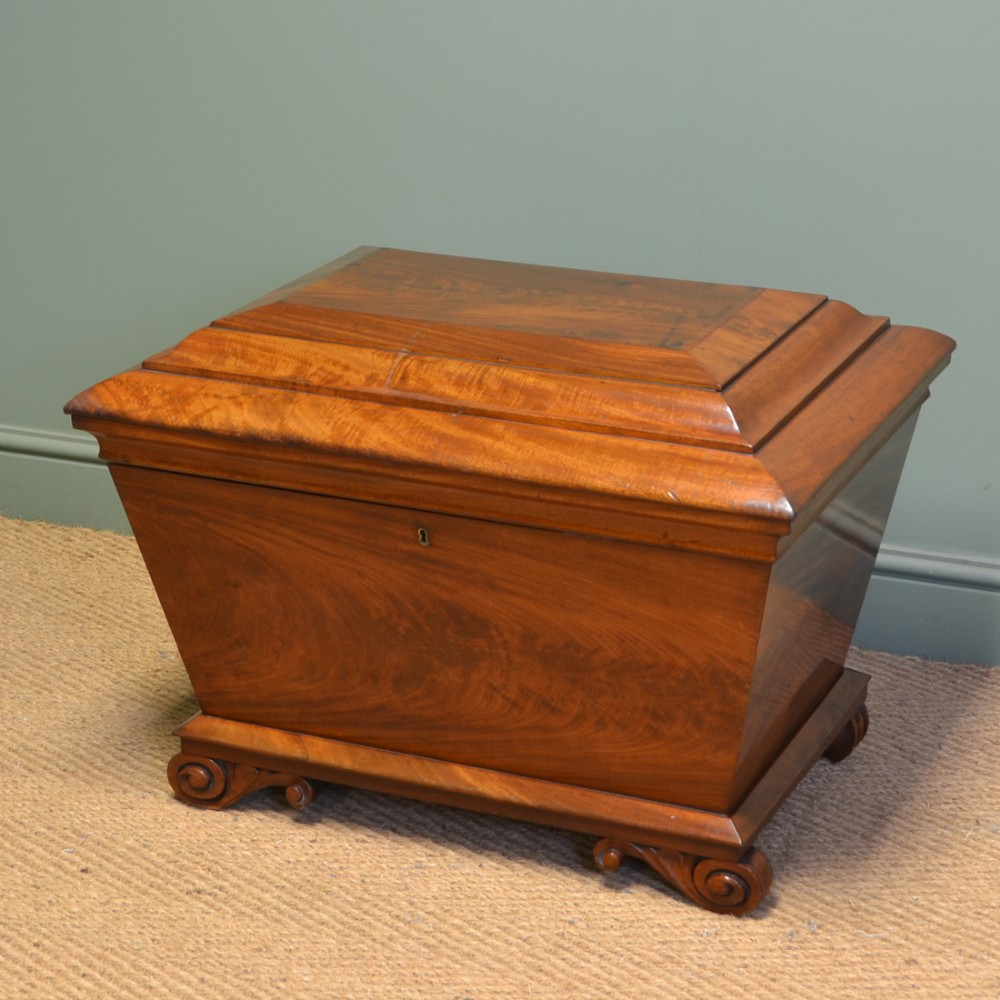 rare regency figured mahogany large antique cellaret wine box