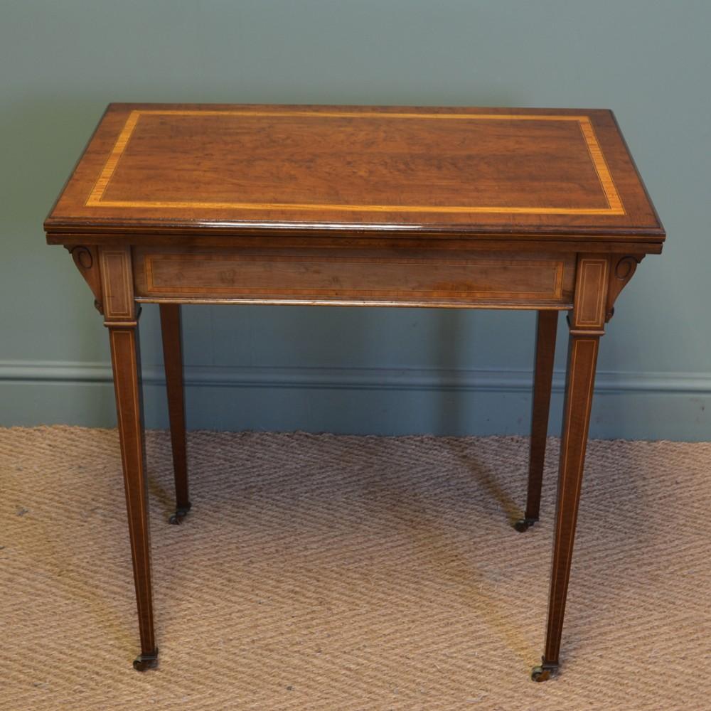 elegant maple co quality edwardian mahogany inlaid antique card games table