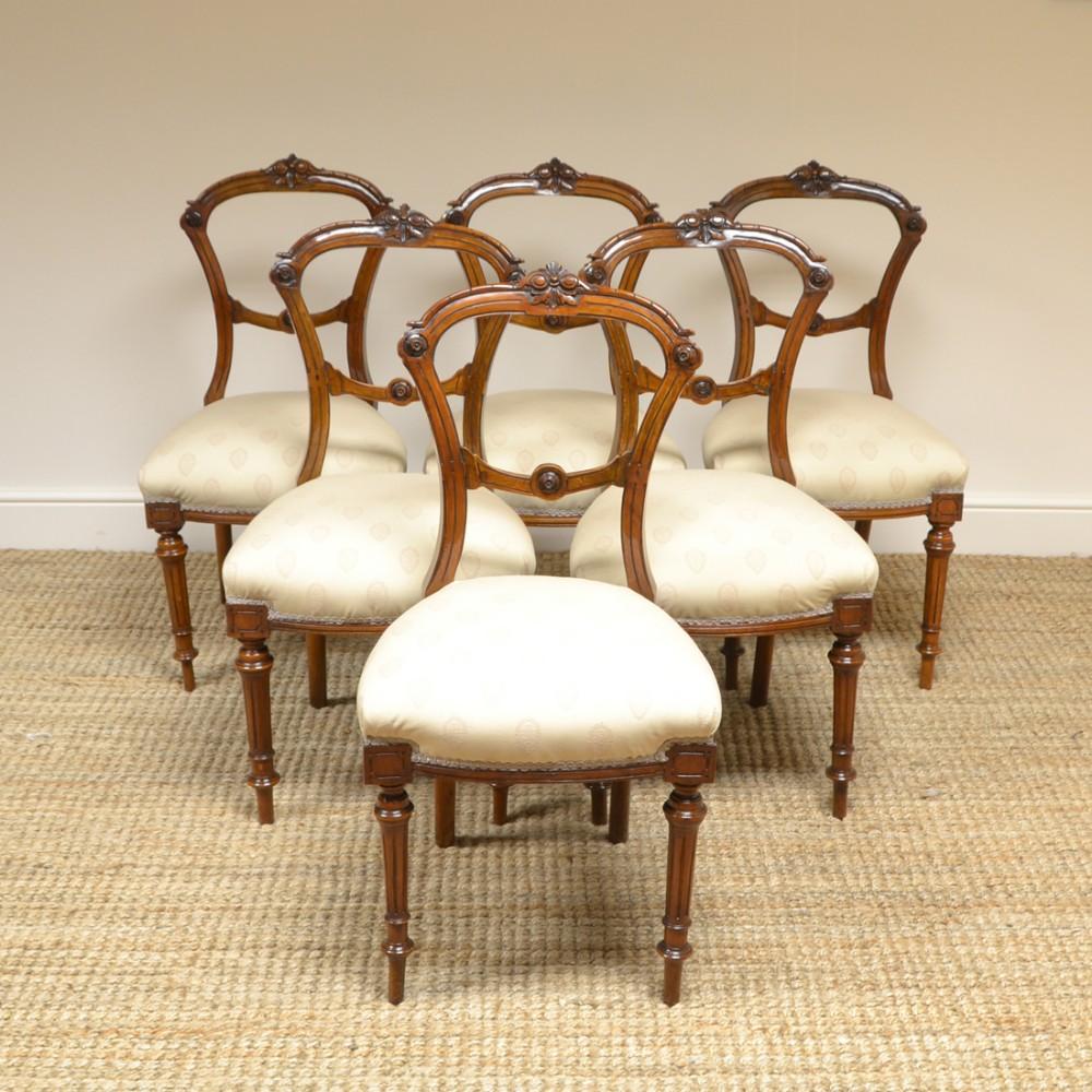 elegant set of 6 victorian walnut antique dining chairs