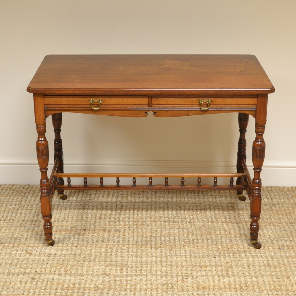quality victorian walnut arts crafts antique side writing table