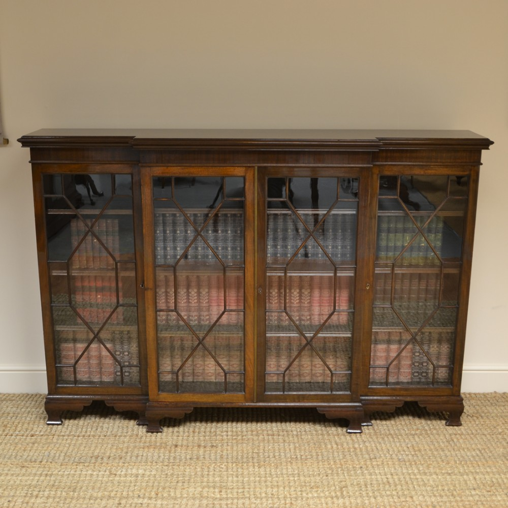 edwardian walnut break fronted antique bookcase