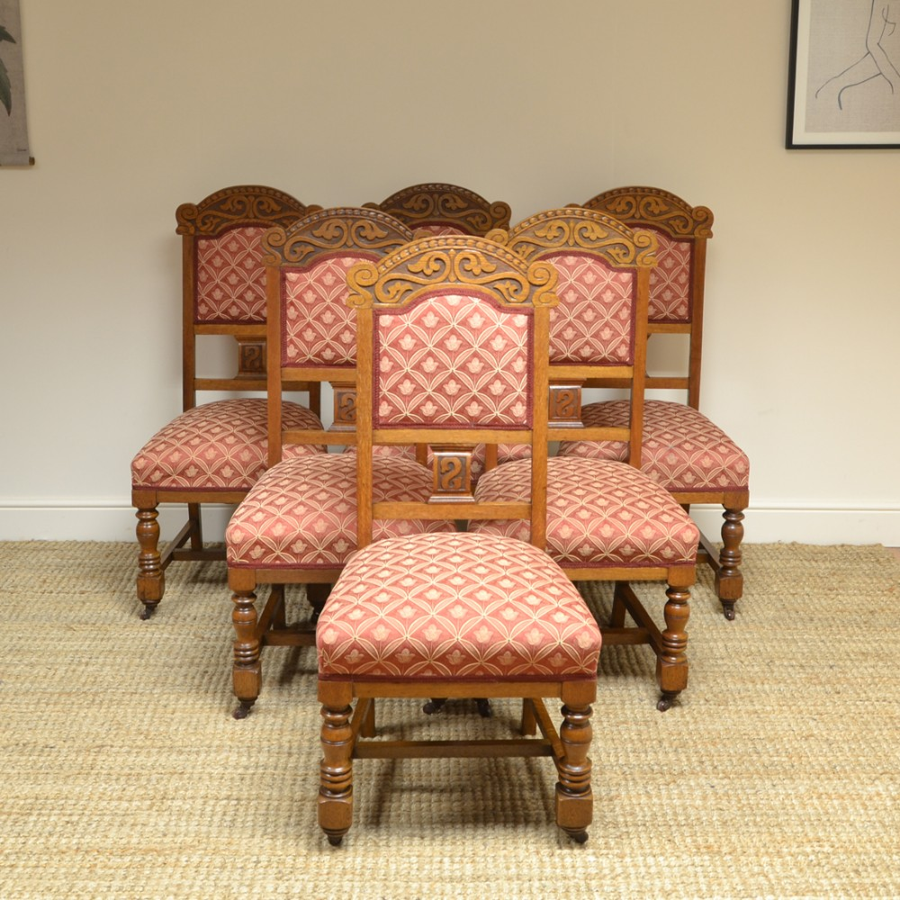 quality set of six victorian oak antique dining chairs