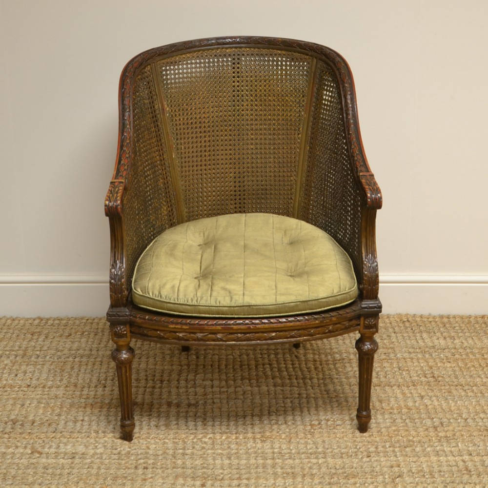 decorative victorian country house original painted antique bergere arm chair