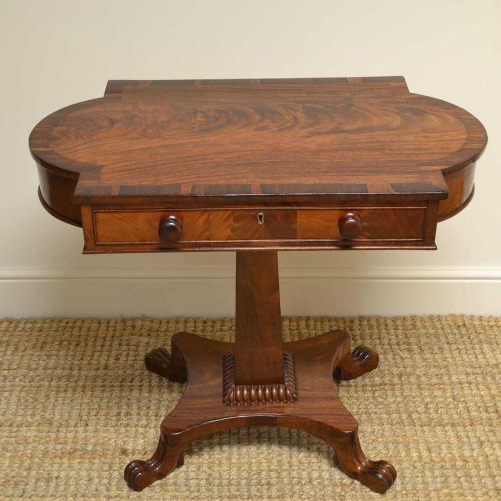 quality regency figured mahogany antique pedestal antique side table