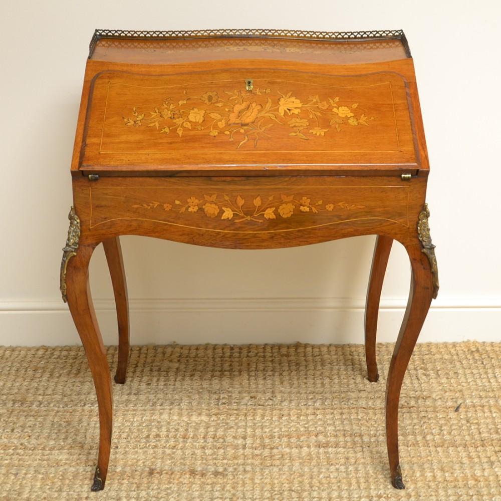 quality 19th century inlaid walnut antique bonheur du jour