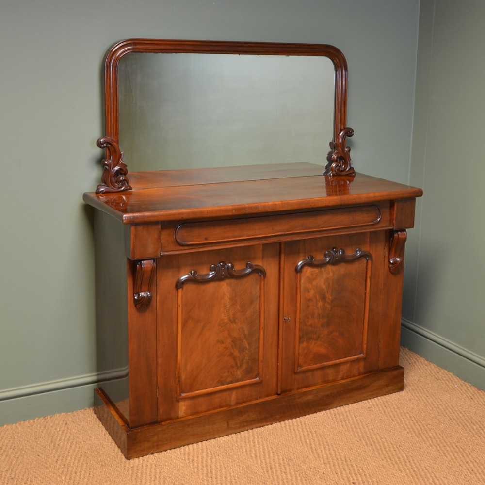 splendid figured mahogany victorian mirrored back antique chiffonier