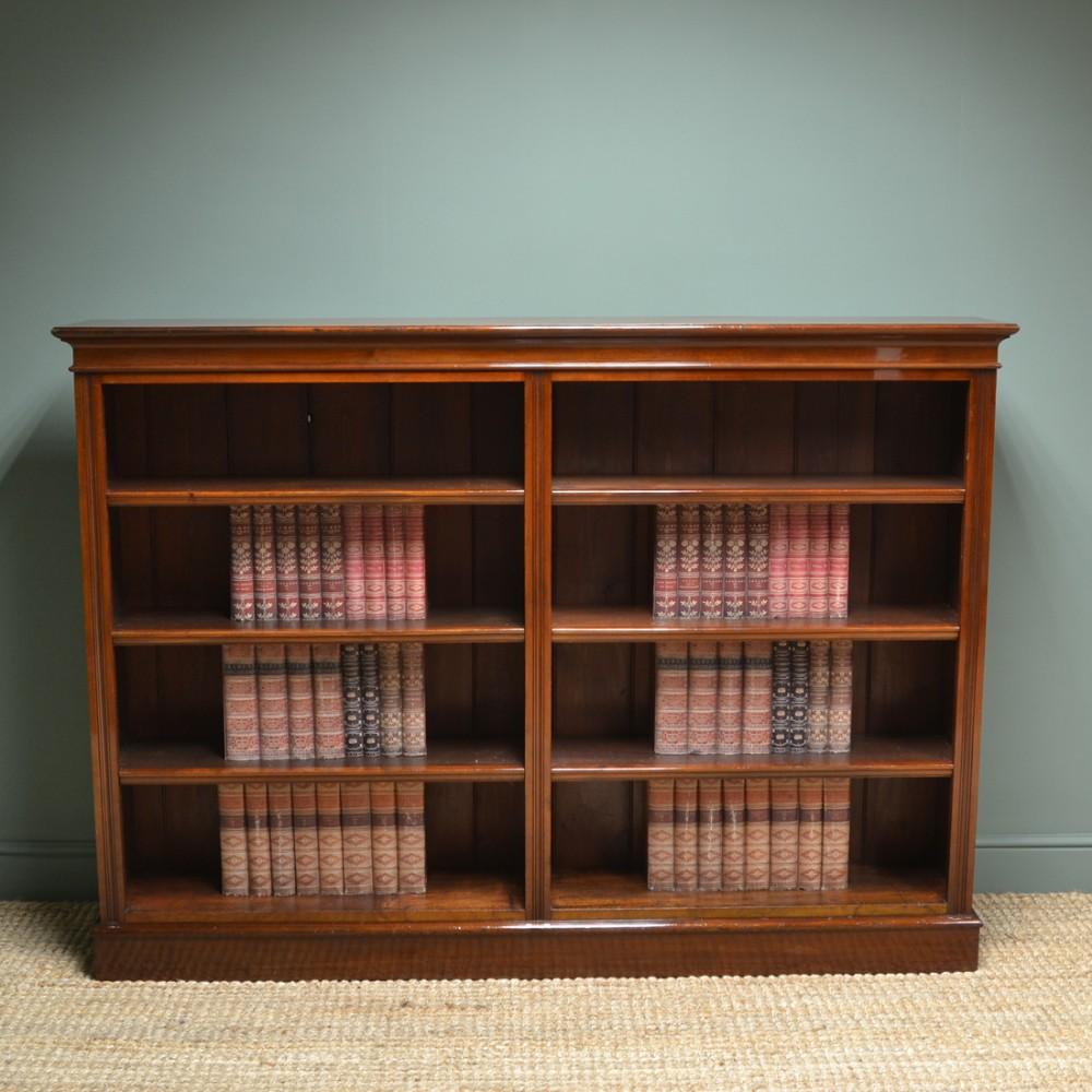 large victorian antique walnut double open bookcase