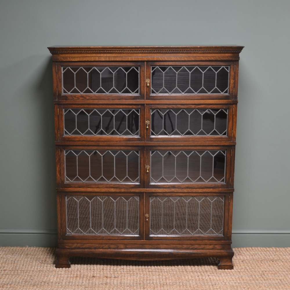 quality oak simpoles stacking barristers antique bookcase