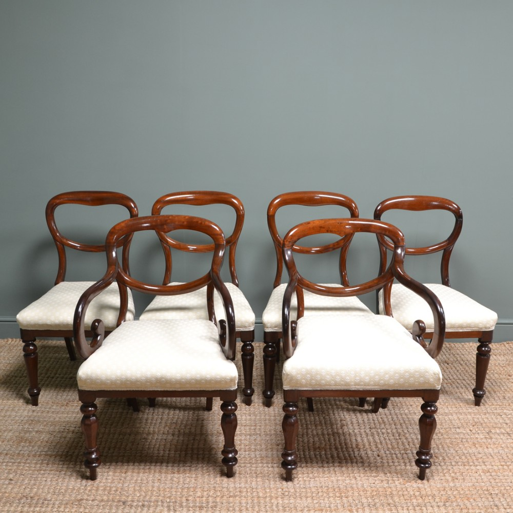 six victorian mahogany antique balloon back chairs