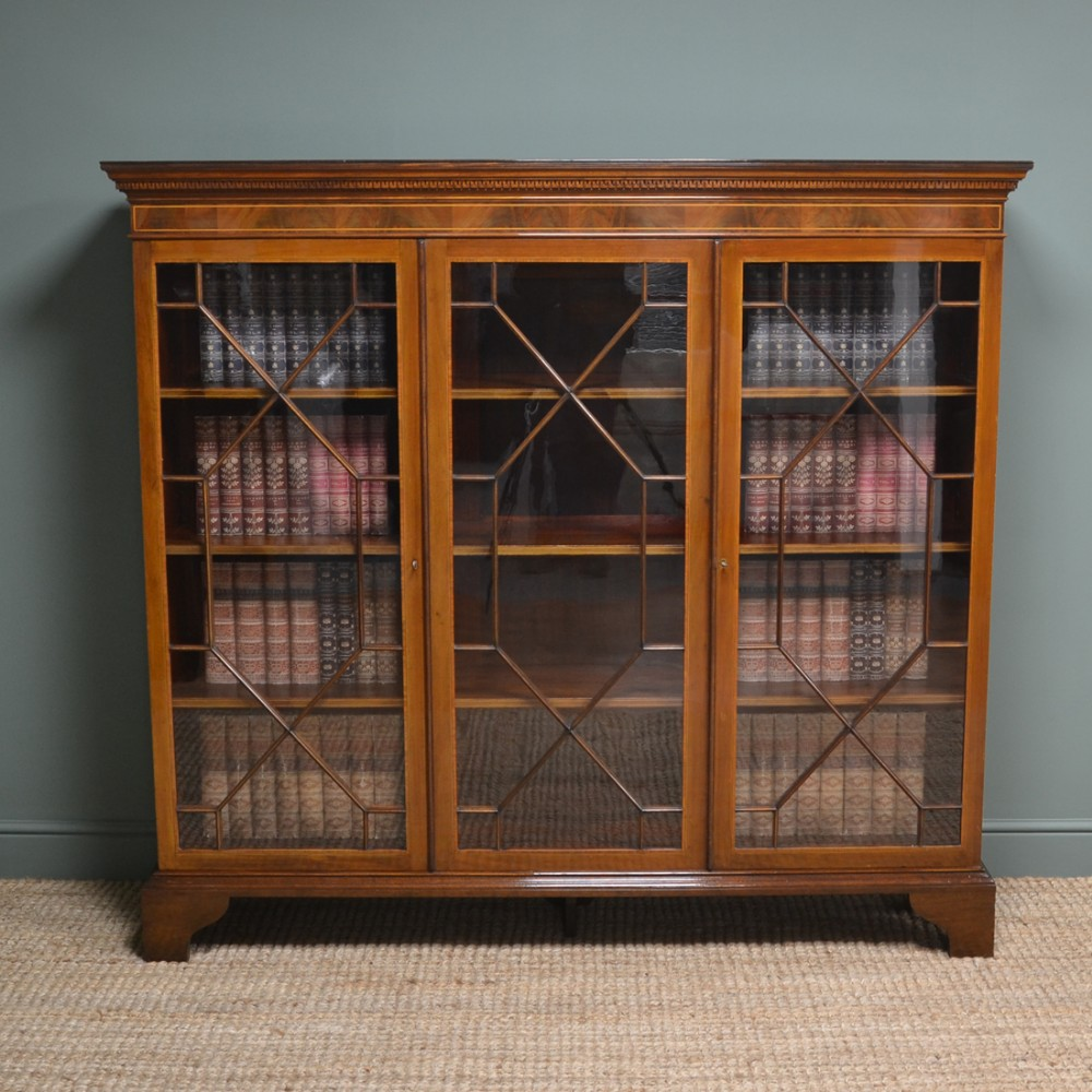 spectacular large figured mahogany victorian antique library bookcase