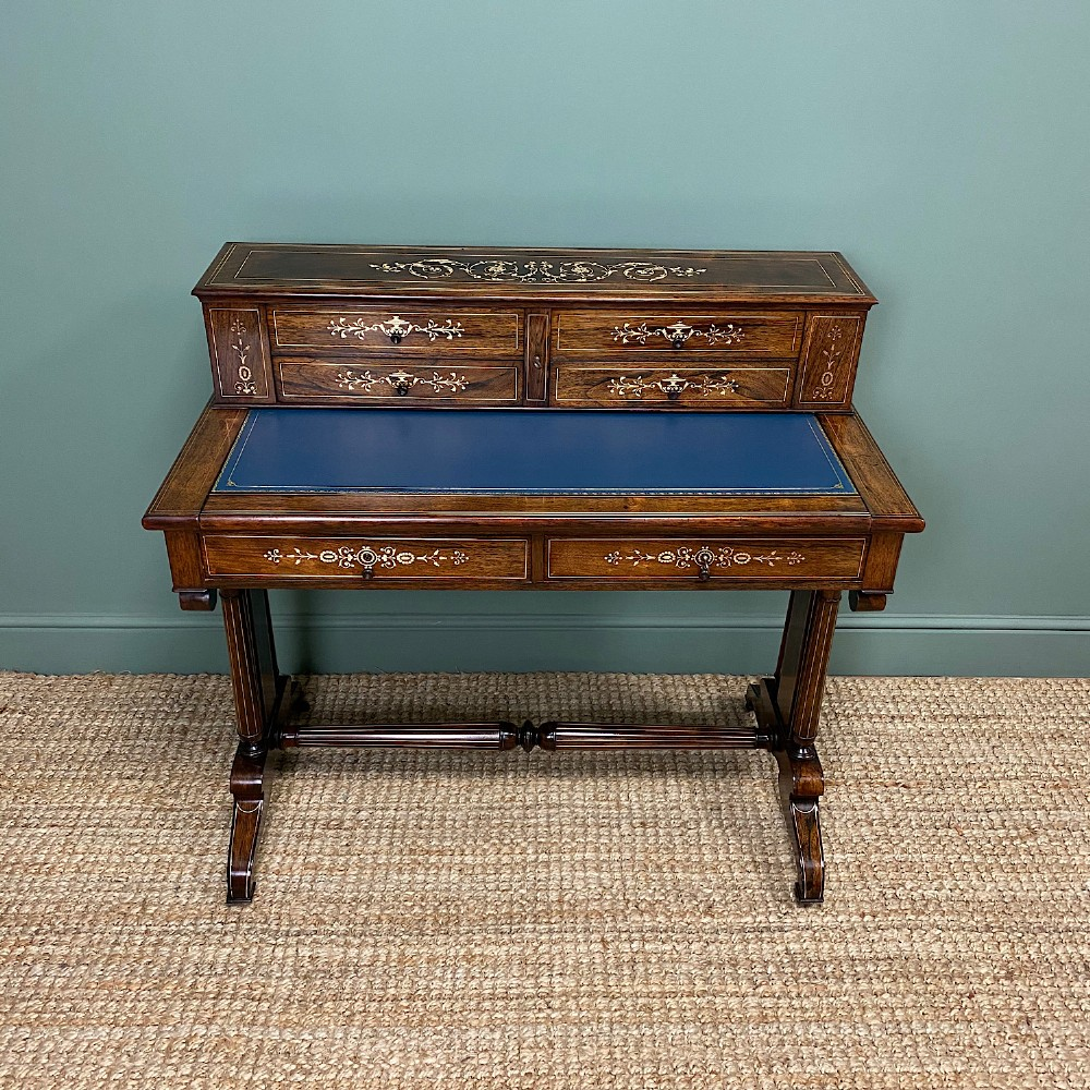 spectacular quality rosewood brass inlaid antique writing table