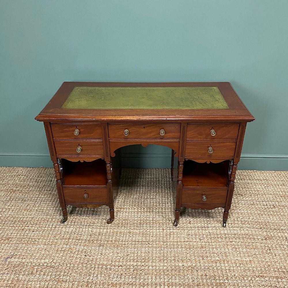 small victorian walnut antique writing desk