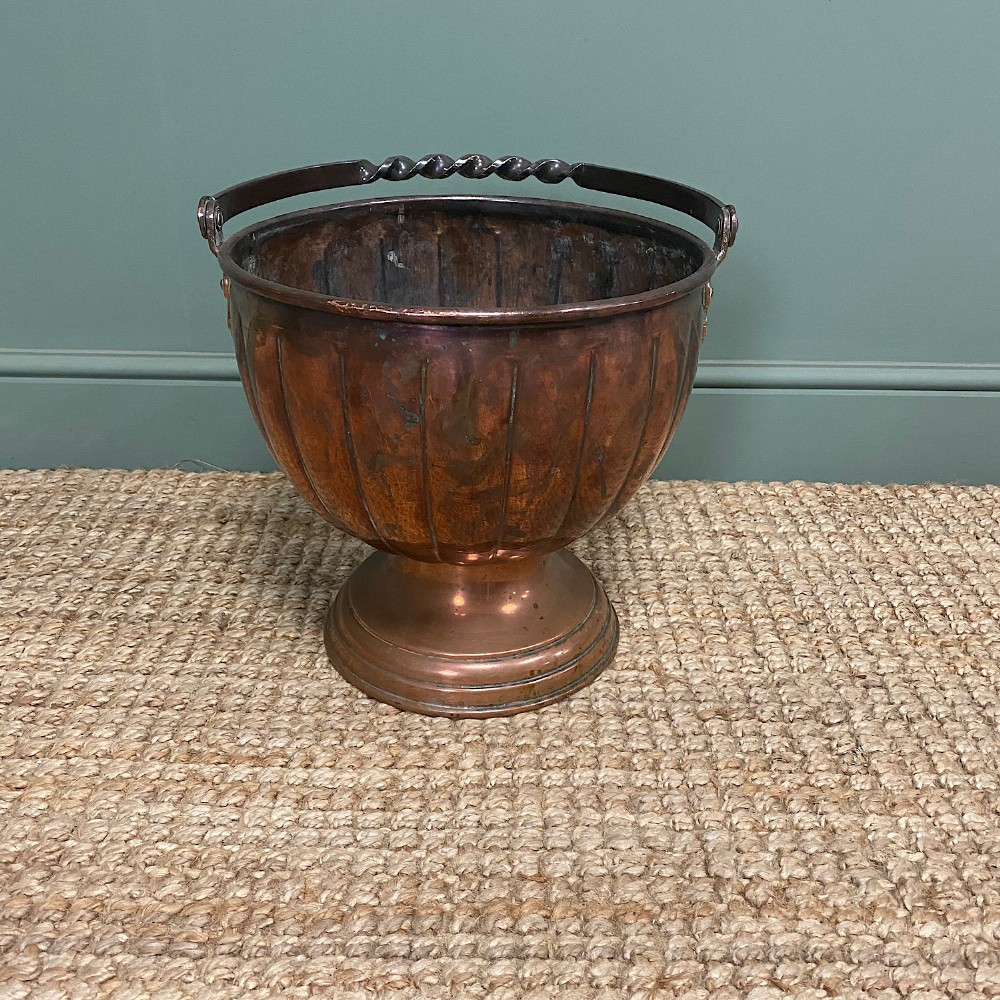 unusual arts crafts copper antique coal bucket