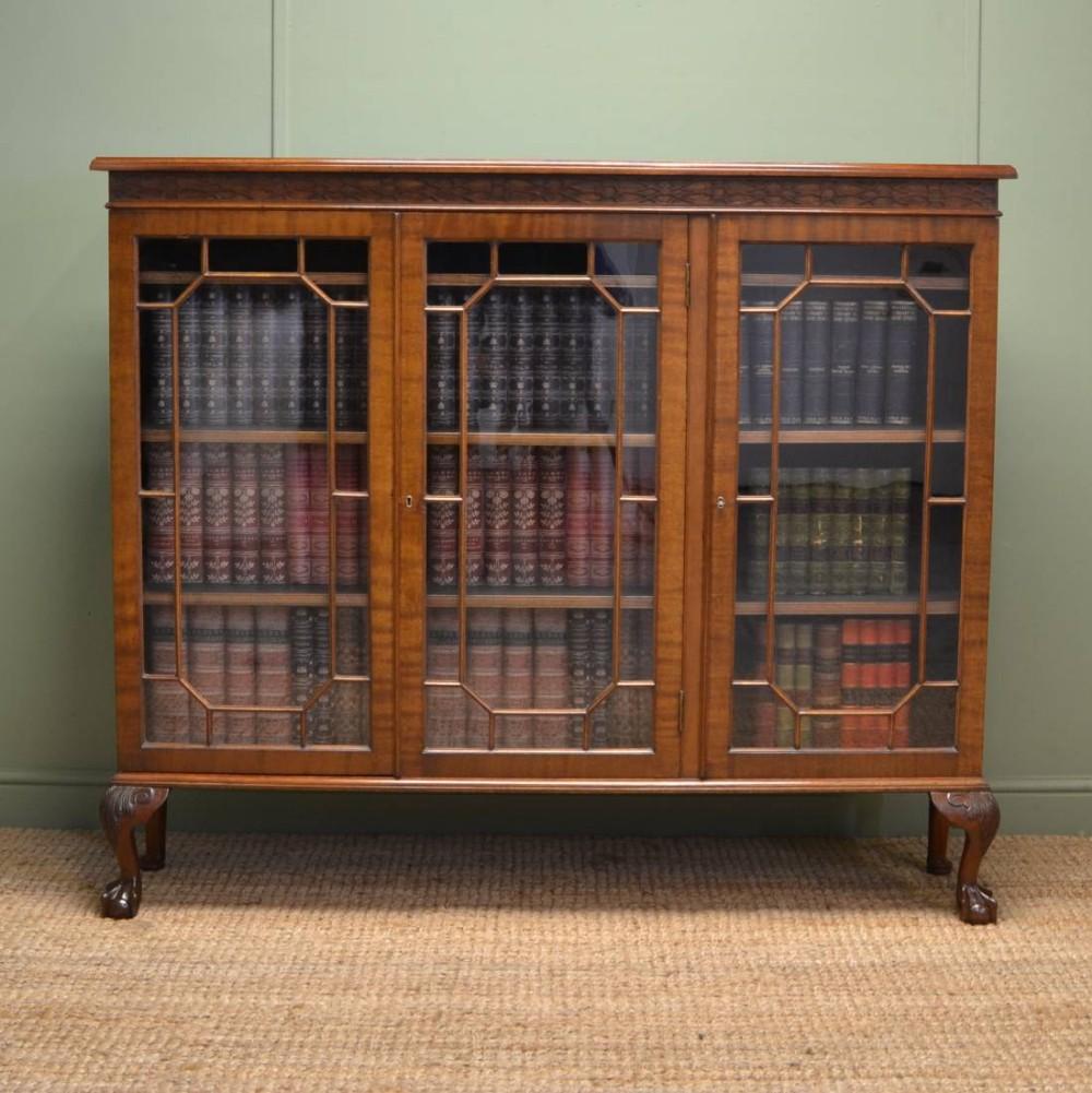 Old Bookcase Uk : Edwardian walnut chippendale design antique bookcase
