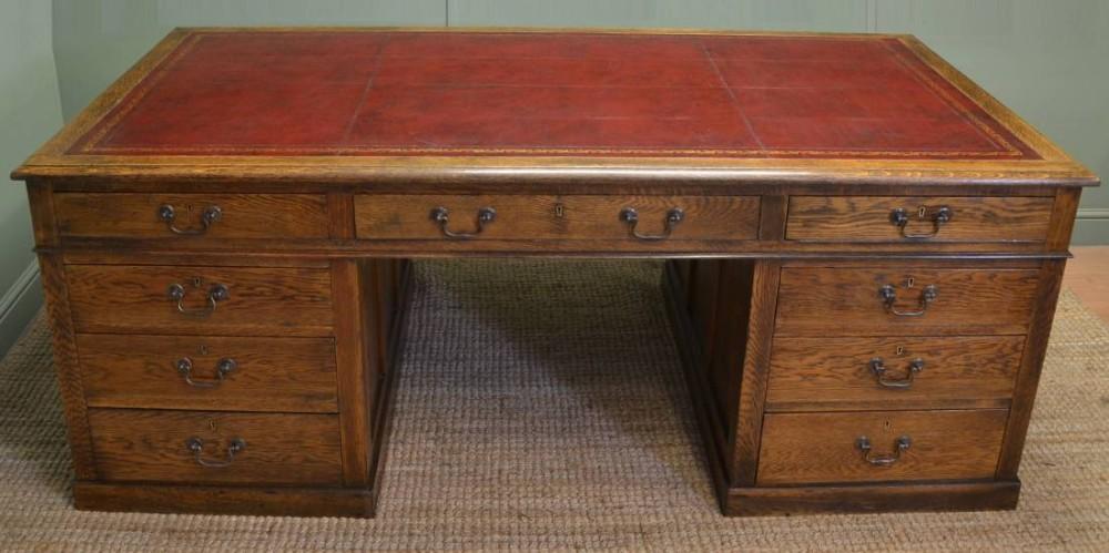 Huge oak antique office pedestal desk 340541 - Antique office desk ...