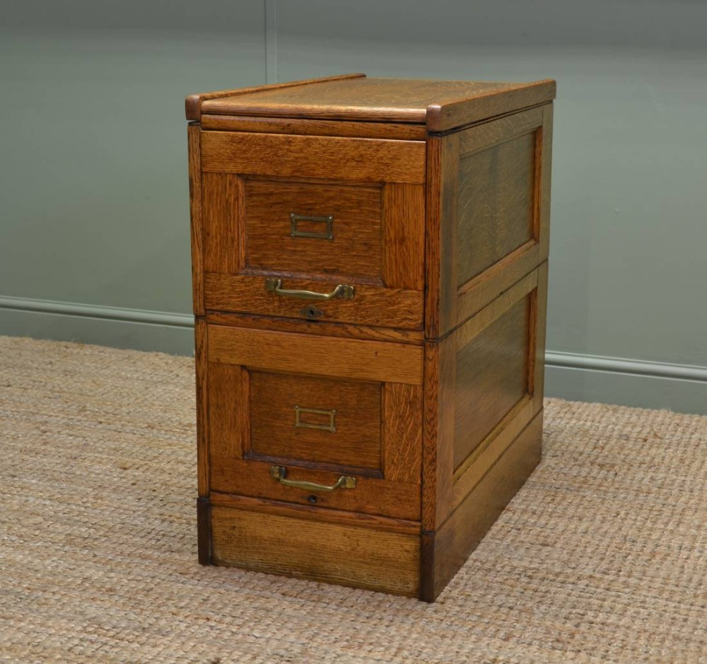 unusual edwardian oak antique filing cabinet 272377