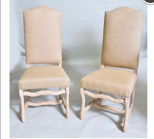 set of 8 bleached oak dining chairs upholstered in hessian french c1900