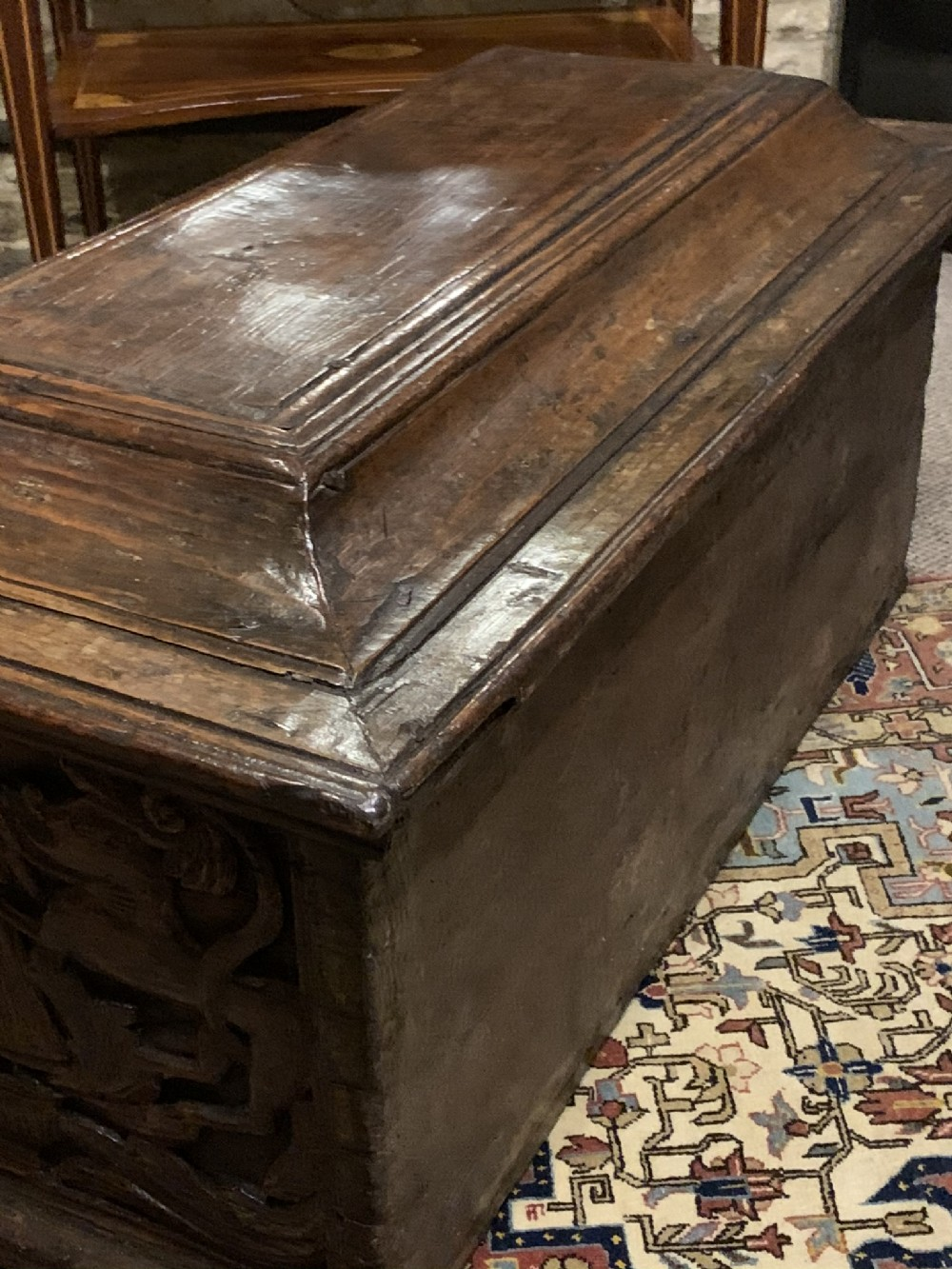 early 17th c spanish colonial carved walnut chest