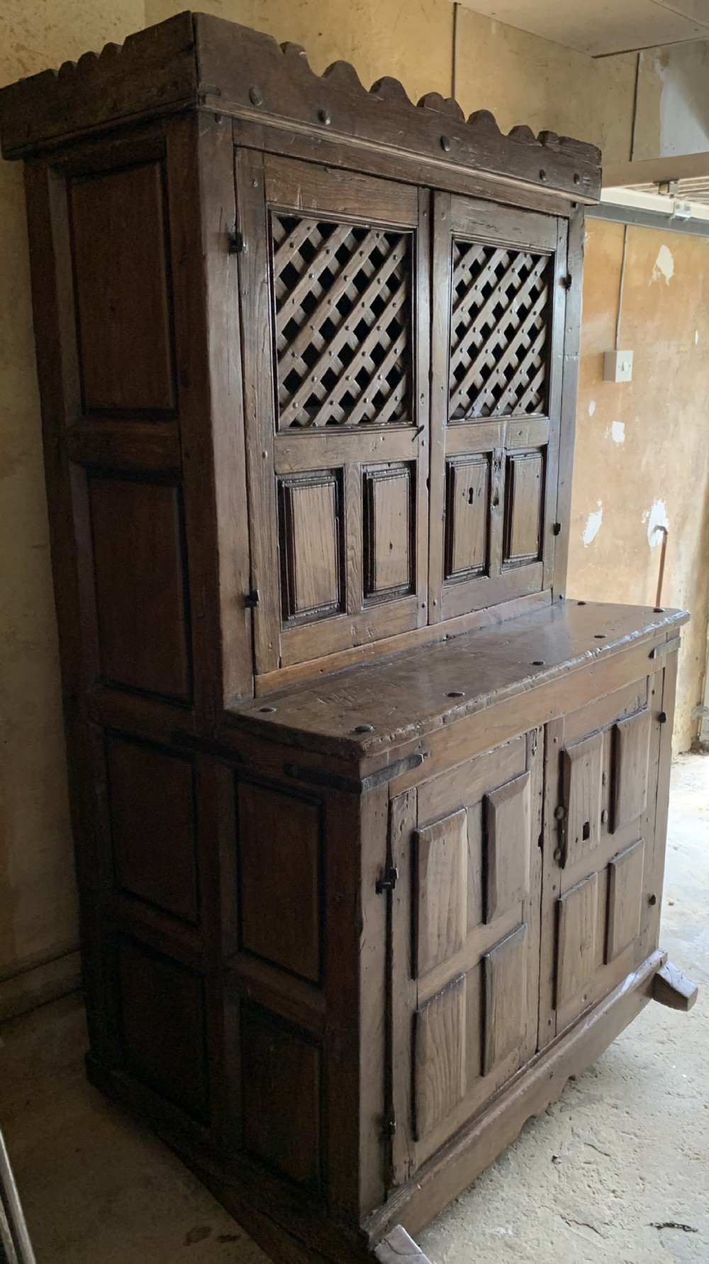 early 17th c oak food cupboard made in the spanish netherlands