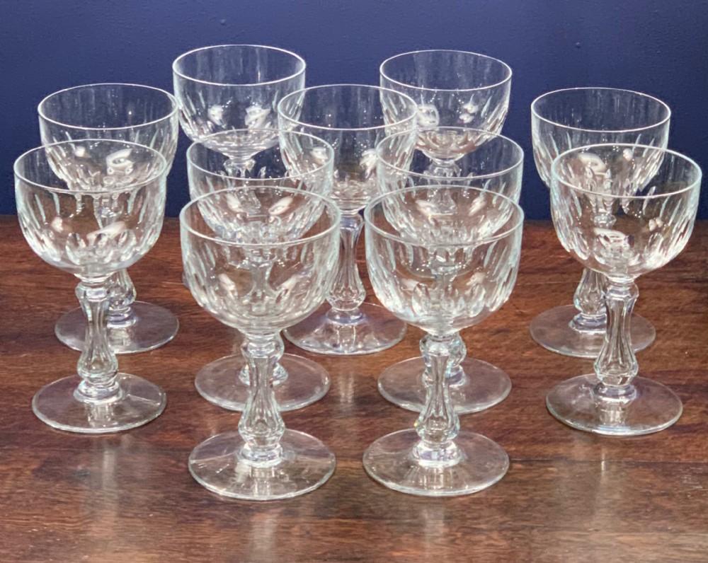 set of 10 val st lambert stemware glasses c1920's