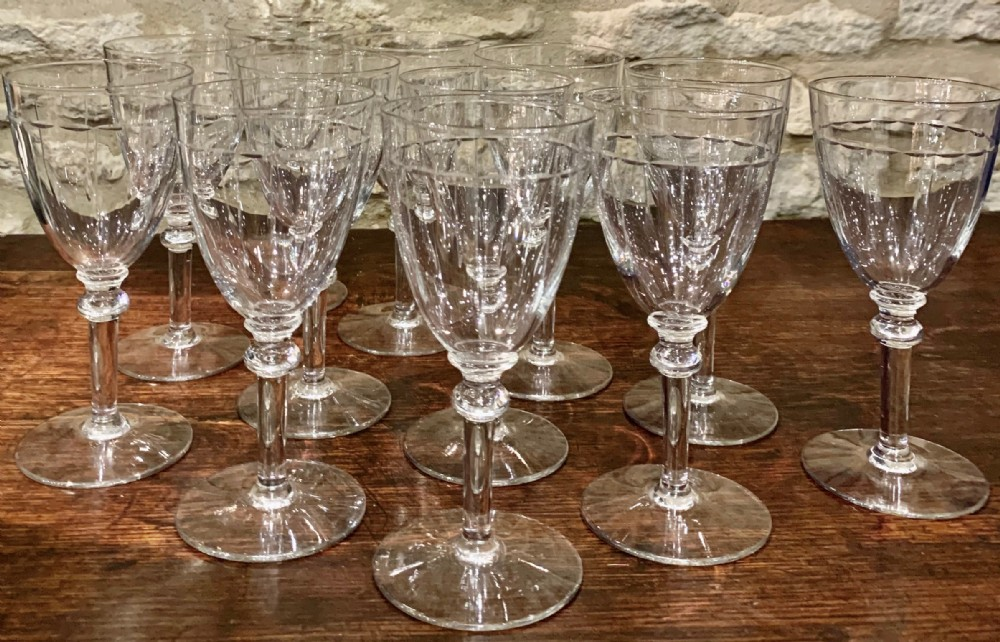 set of 12 baccarat red wine glasses c1920's