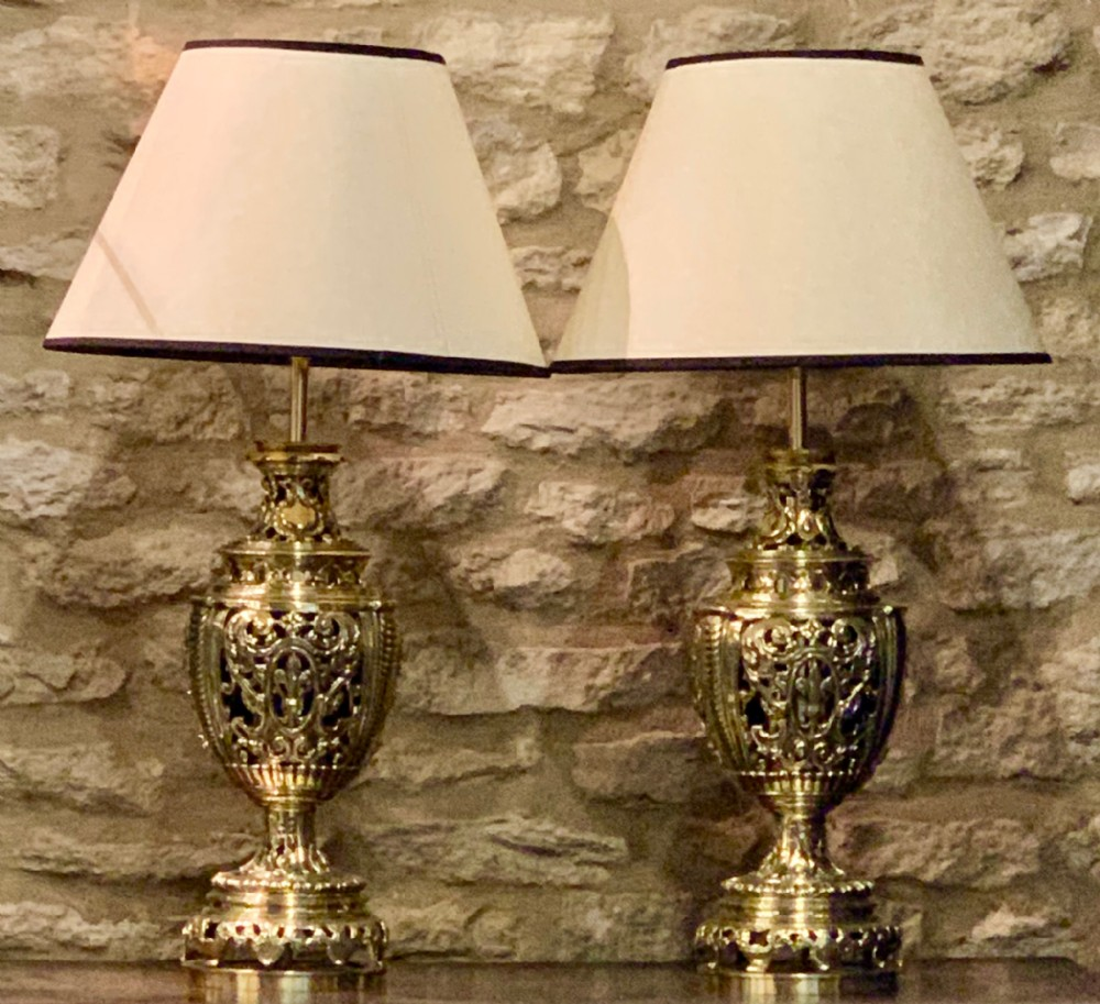excellent quality pair of brass lamps converted from oil to electricity c186080