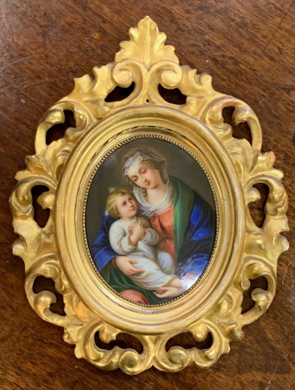 19th c florentine plaque oil on porcelain
