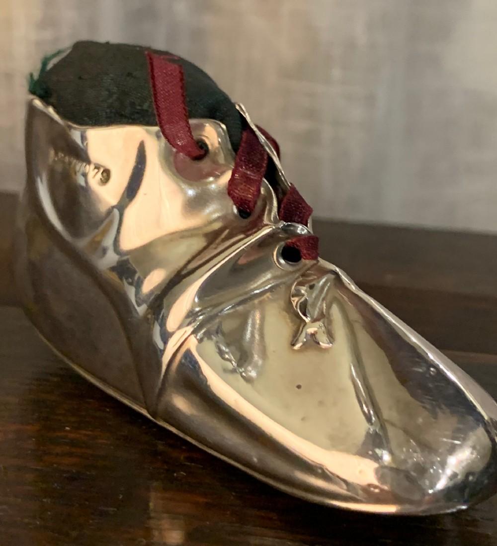silver child's shoe pincushion birmingham 1906 levi salaman