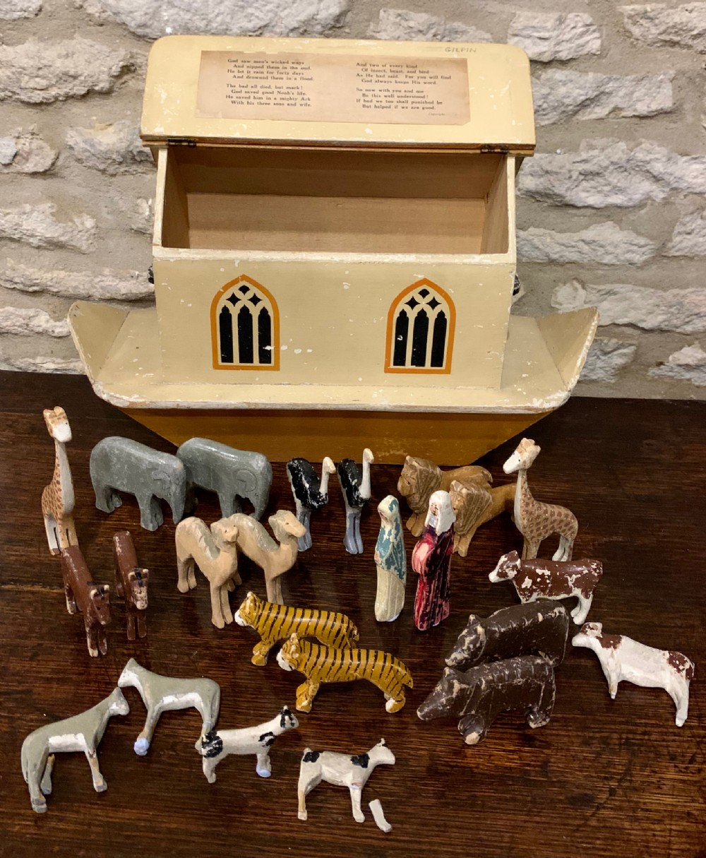 c1920s war relief noah's ark with a collection of original animals noah his wife