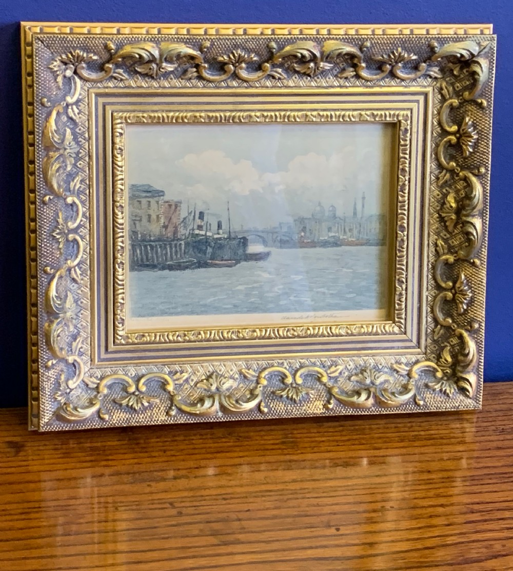 signed aquatint limited edition 'pool of london' by claude hamilton rowbotham in original gilded frame