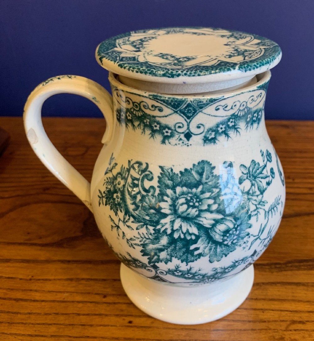 rare 19th c yorkshire treacle pot with threaded lid 'berlin' pattern probably leeds pottery