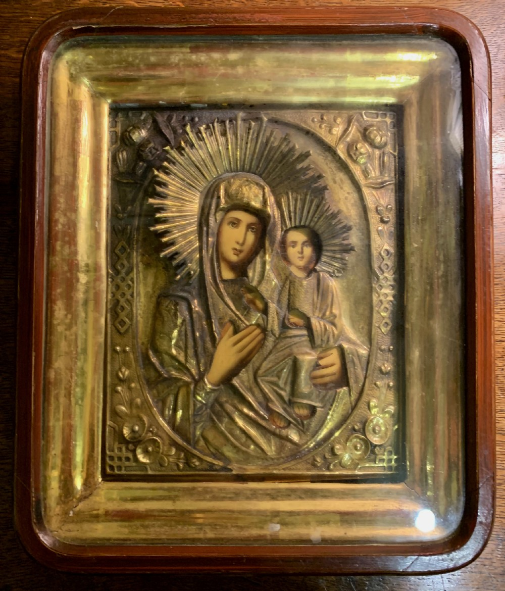 beautiful c 19th c russian icon framed in original hinged case attributed to vladimir storya 295cm high