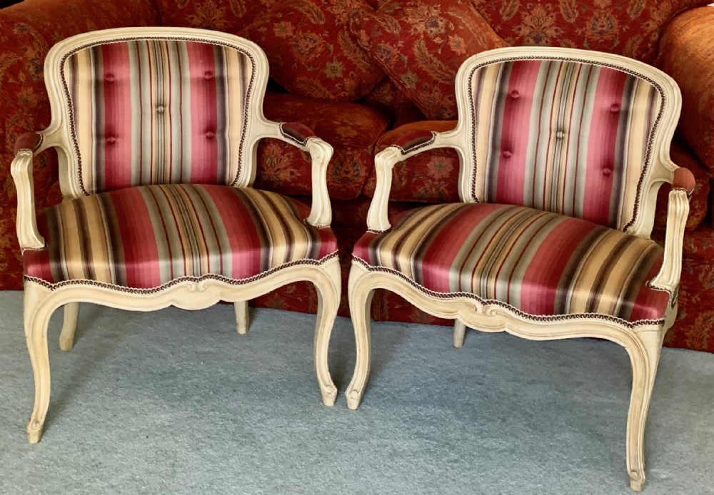 rare pair of children's french arm chairs reupholstered in quality fabric