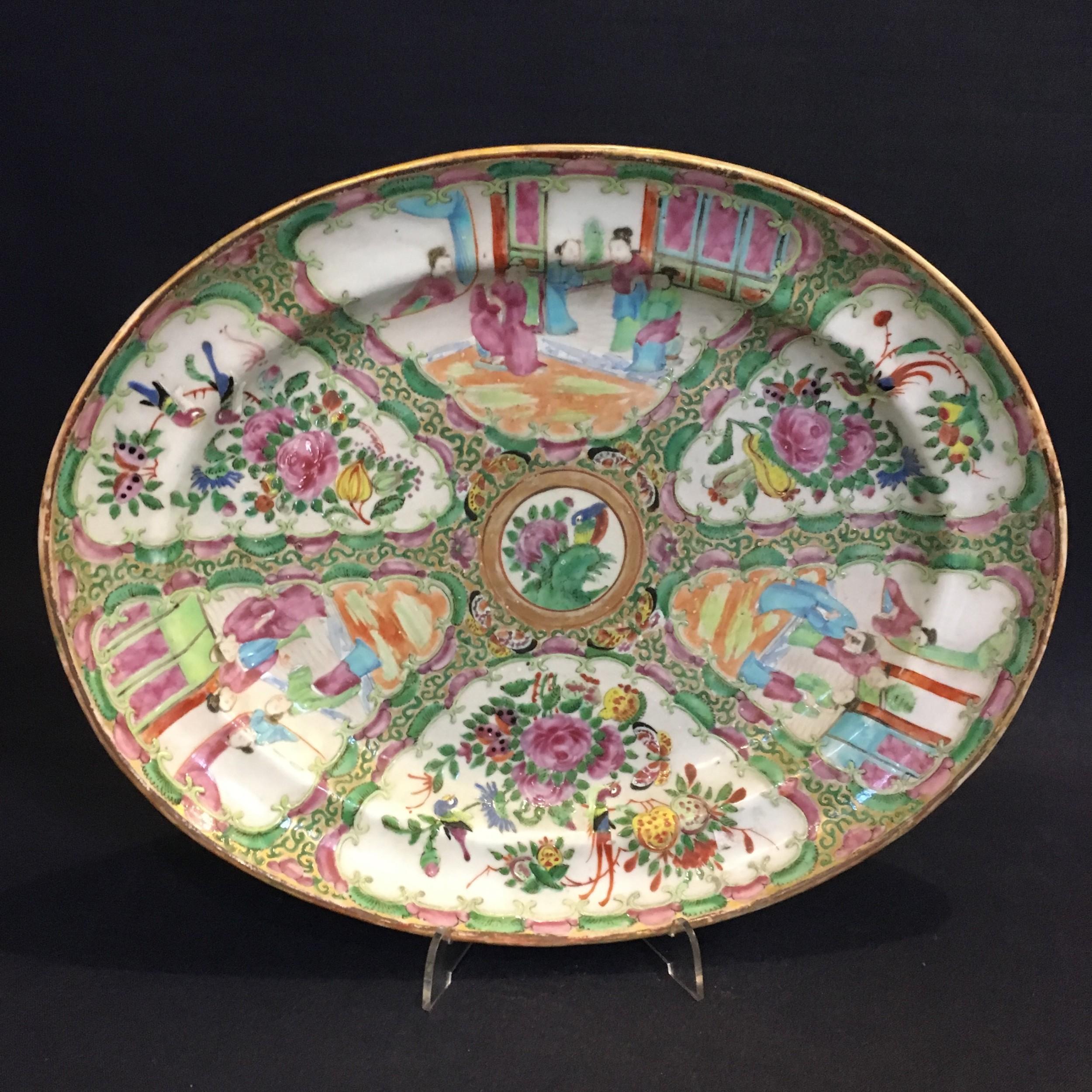 19th century cantonese oval platter