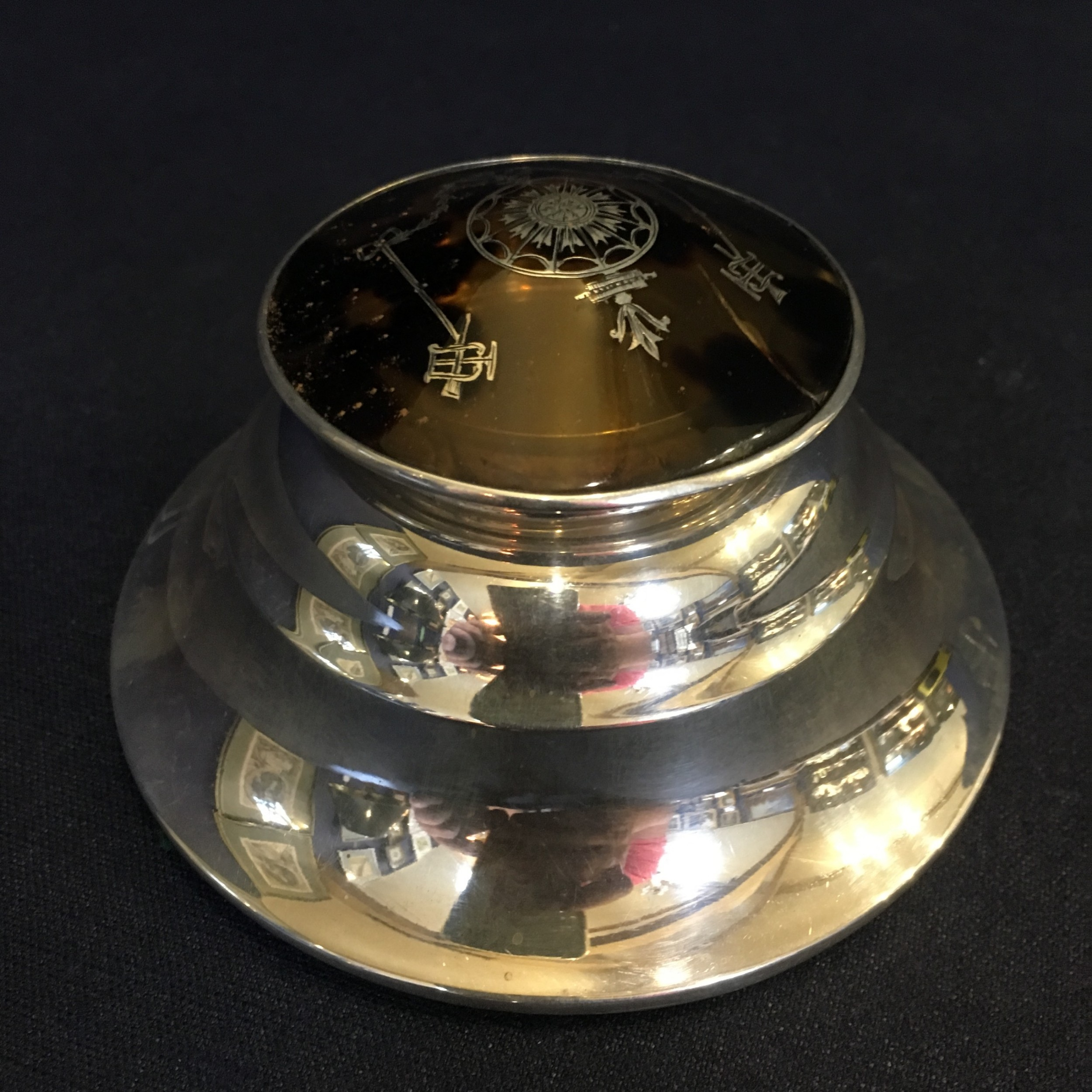 victorian silver and tortoiseshell pique work inkwell