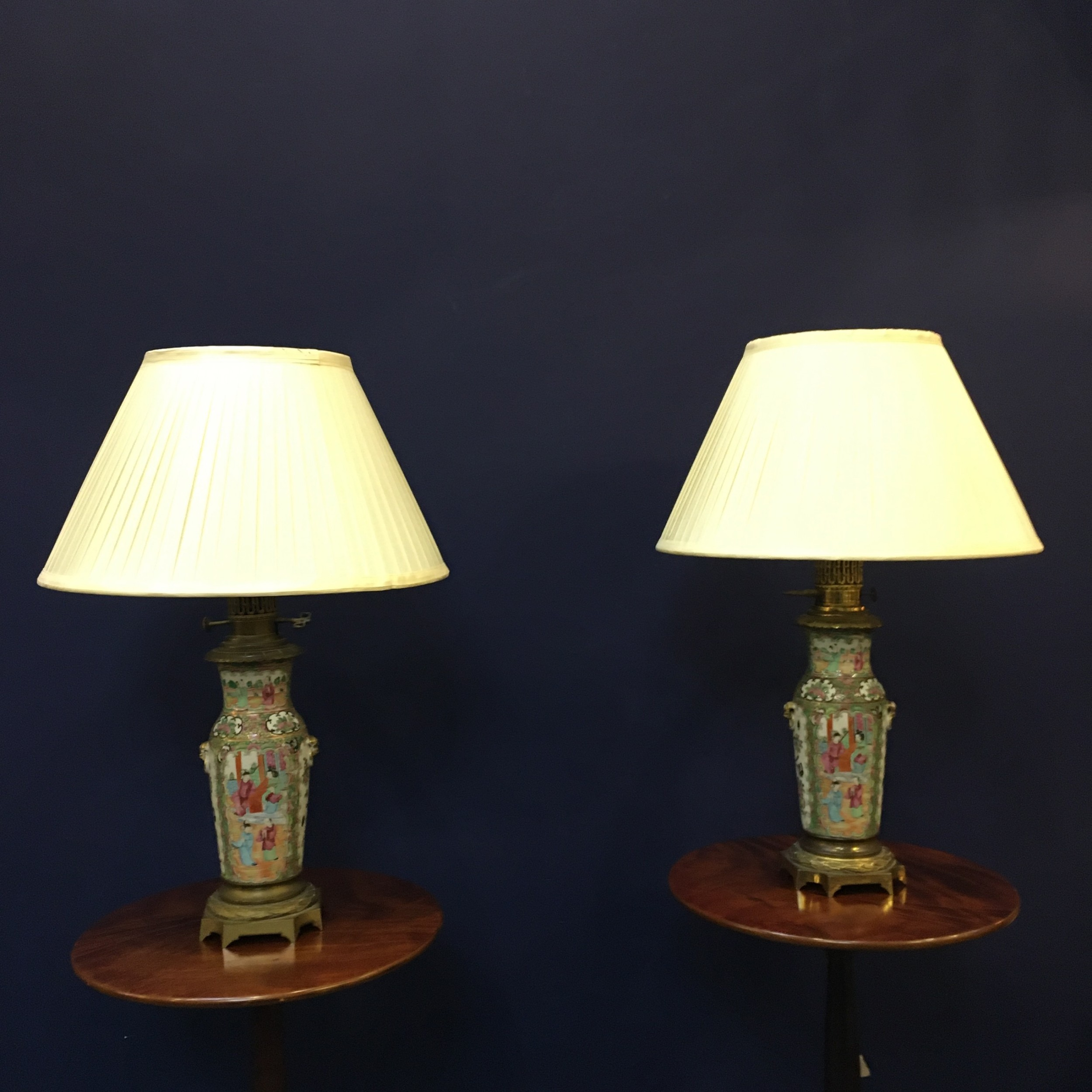 pair of c19th cantonese converted oil lamps