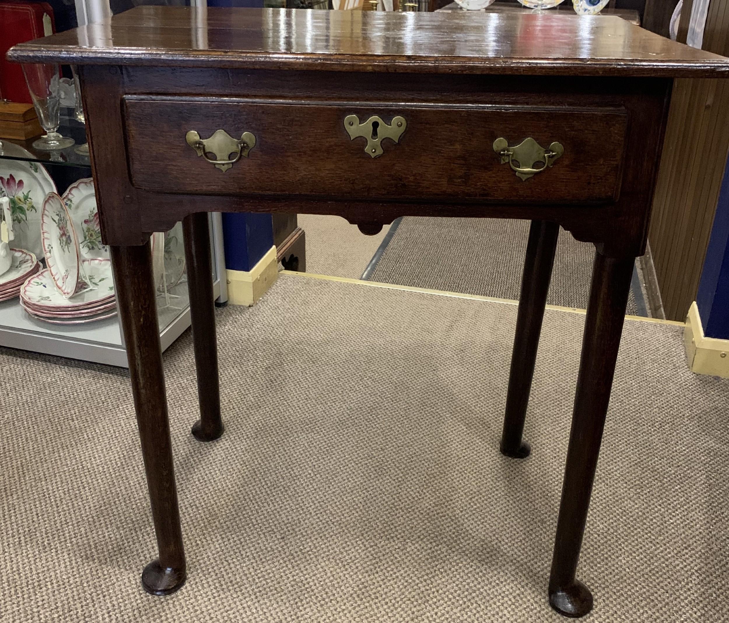 georgian oak pad foot side table with original handles