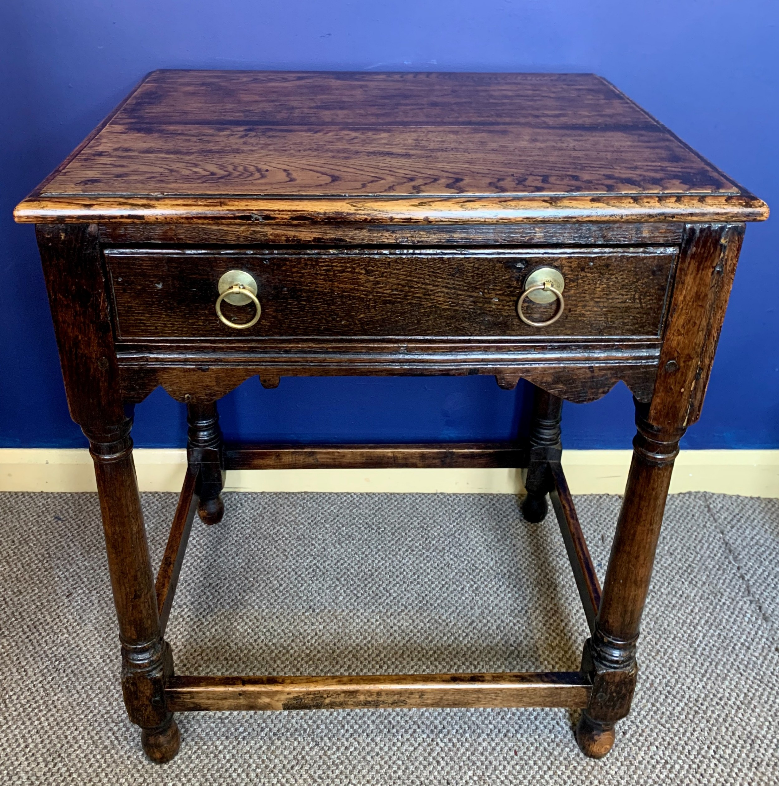 c18th c english oak side table with original handles