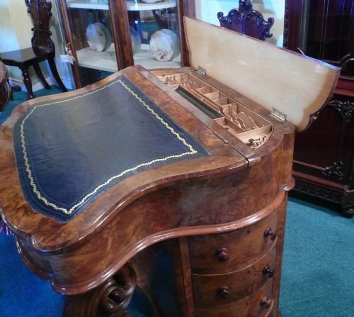 very unusual shaped victorian burr walnut antique davenport - photo angle #2