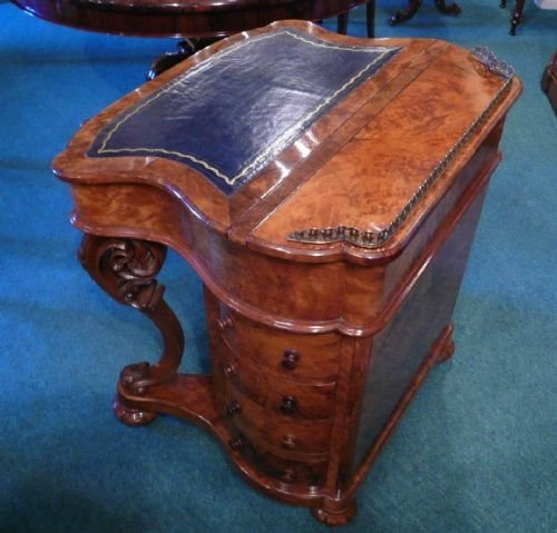 very unusual shaped victorian burr walnut antique davenport - photo angle #3