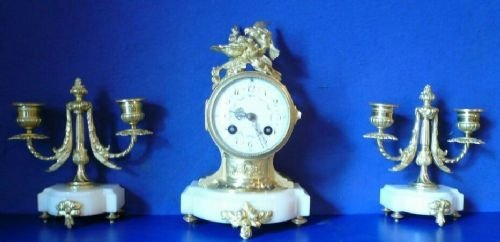 lovely little marble and ormolu clock garniture of very petite porportions
