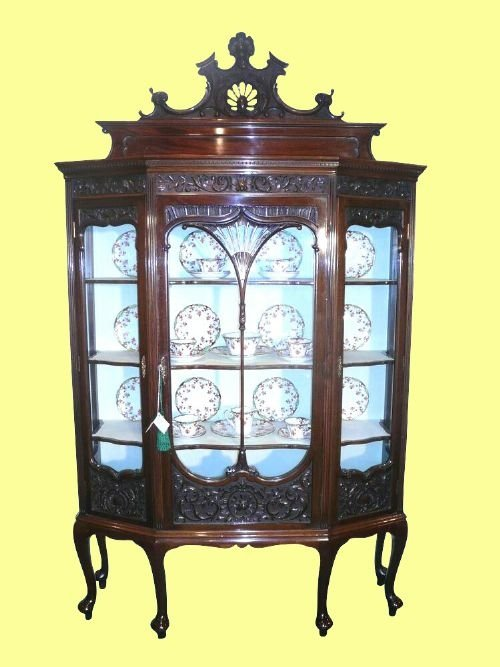 Declaration - Quality Victorian Mahogany Carved Antique Display Cabinet 78443