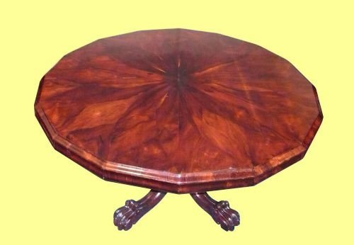 19th century rosewood 16 sided antique center table on carved shaped pedestal with paw feet